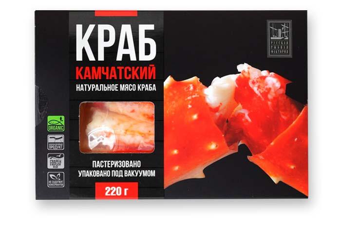 Краб Камчатский натуральное мясо краба пастеризованное в/у 220г,