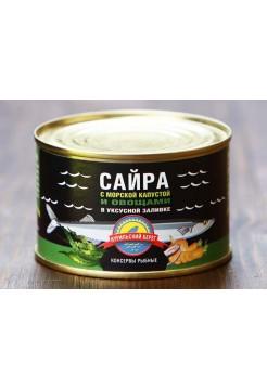 Сайра с морской капустой и овощами в уксусной заливке